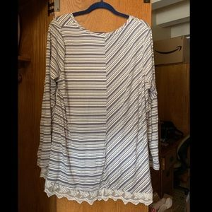 LOGO by Lori Goldstein Tops - Striped Lace Tunic